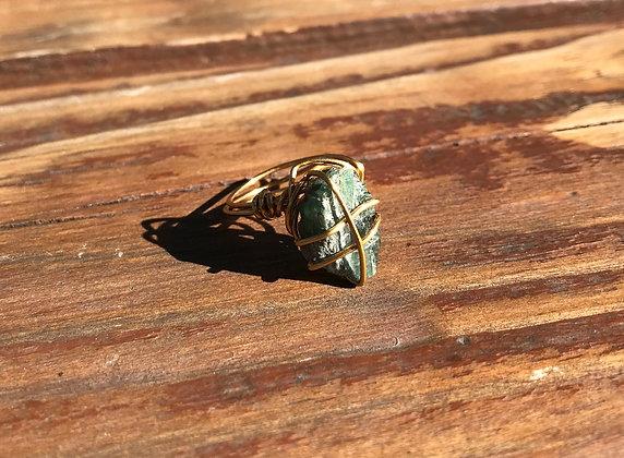 Green Tourmaline in Brass Ring