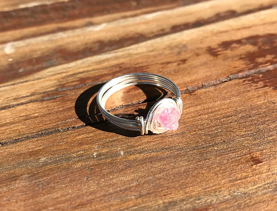 Pink Tourmaline in Silver Ring