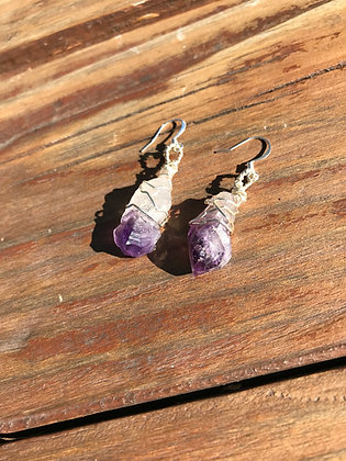 Amethyst in Silver Earrings
