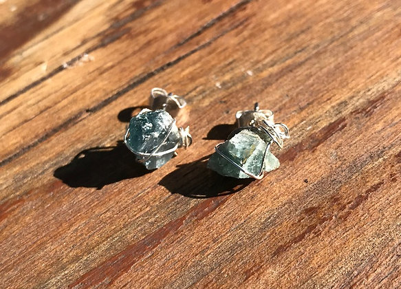 Blue/Green Tourmaline in Silver Earring Studs