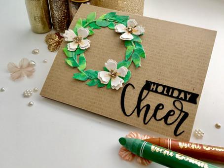 Mixed Media HolidayWreath Card