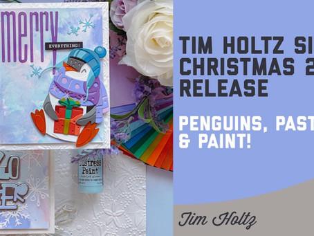 Tim Holtz - Sizzix Christmas 2021 Release, Penguins Pastels & Paint