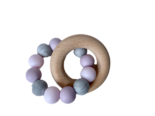 Wooden Ring Pink Silicone Teether