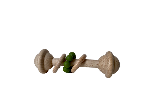 Large Wooden Two Ring Army Green Silicone Rattle