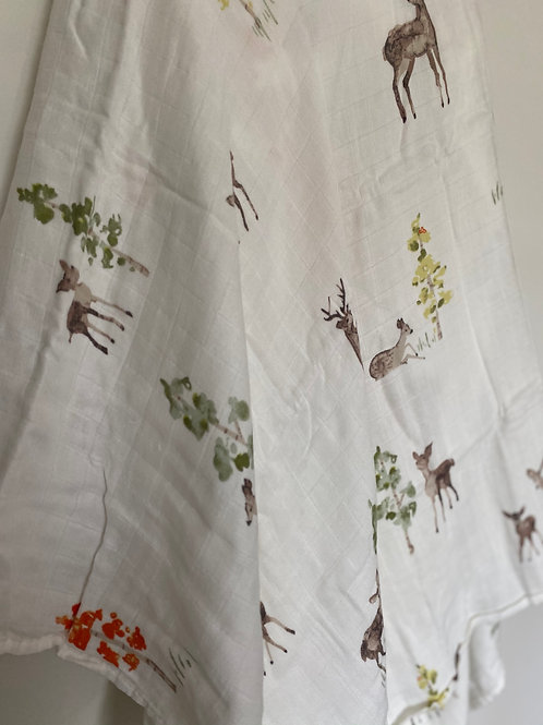 Soft Deer and Forest Bamboo/ Cotton Swaddle Blanket