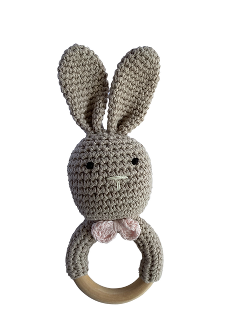 Oatmeal Crocheted Bunny Rattle Teethe