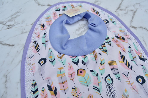 Cotton Pull Over Purple Feather Lace Bib