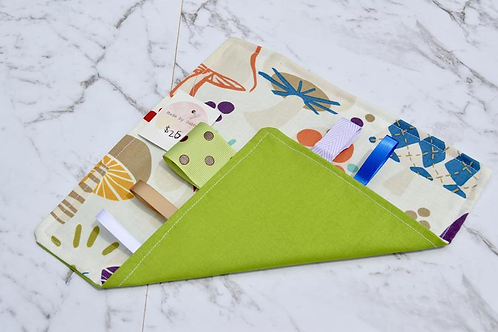 Handmade Crinkle Paper Taggie Mushrooms Green