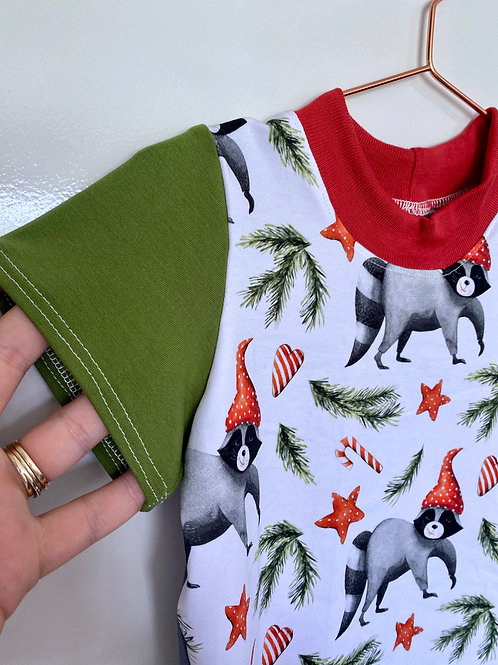 Christmas Racoons Cotton Lycra T-Shirts