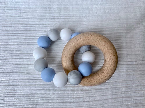 Wooden Ring Blue Silicone Teether