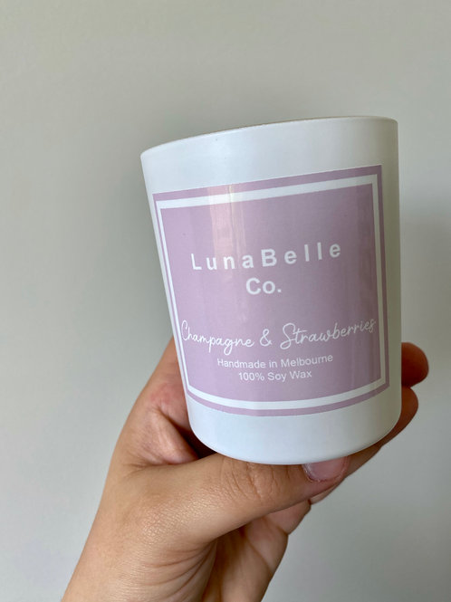 Champagne & Strawberry Candle by Luna Belle Co.