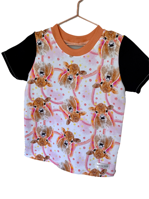 Pretty and Pink Cows Black Sleeves Cotton Lycra T-Shirt