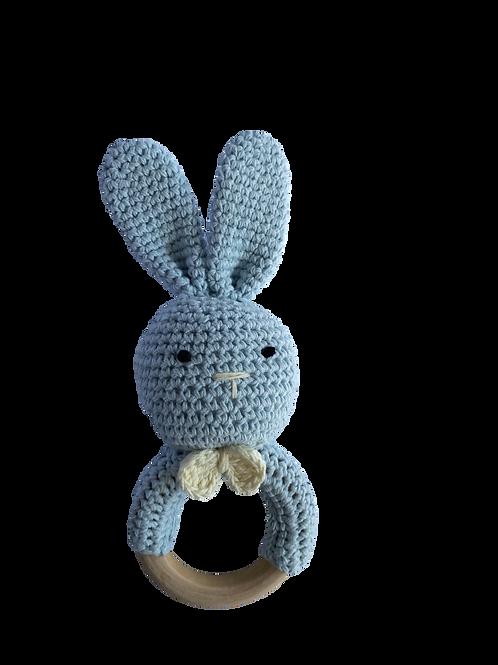 Soft Blue Crocheted Bunny Rattle Teethe