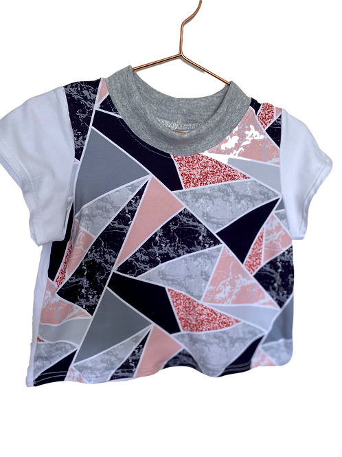 Soft Pink and Marble White Sleeves Kids T-Shirt