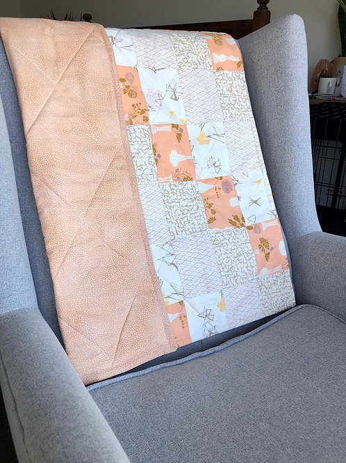 Peach Art Gallery Fabric Baby Quilt
