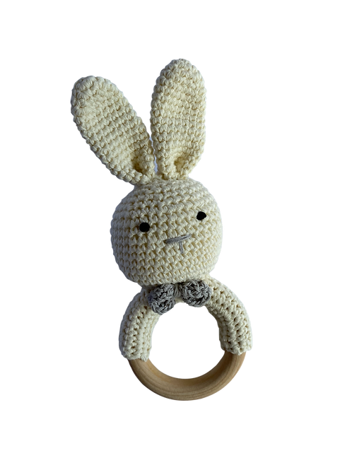 Cream Crocheted Bunny Rattle Teethe