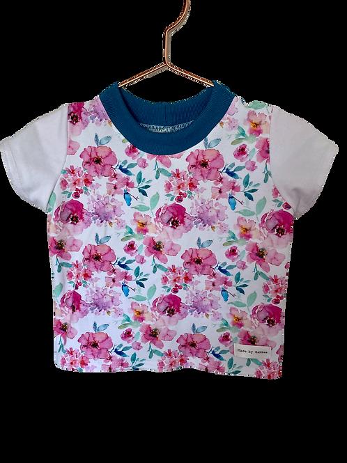 Aqua and Pink Floral Cotton Lycra T-Shirt