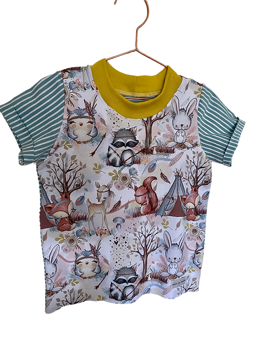 Woodland Animals with Striped sleeves and back Cotton T-Shirt