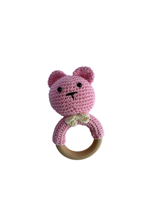 Pink Crocheted Bear Rattle Teether