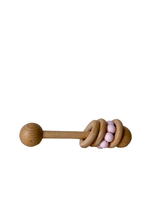 Wooden Three Ring Pink Silicone Rattle