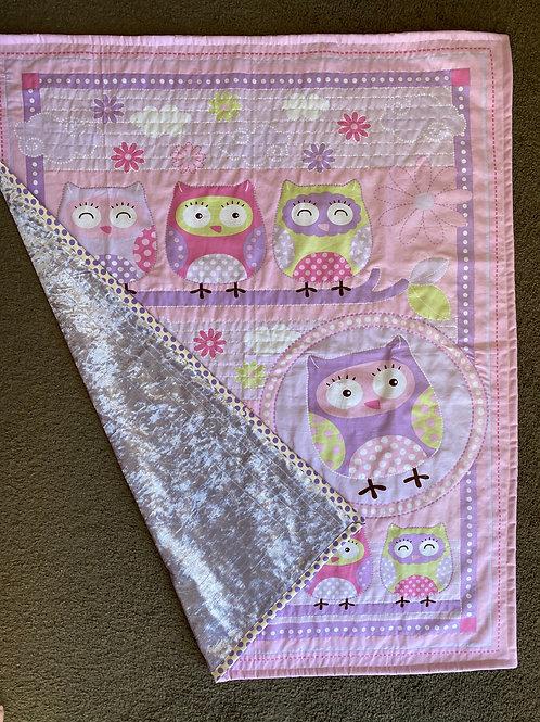 Purple Velvet Owl Handmade Quilt