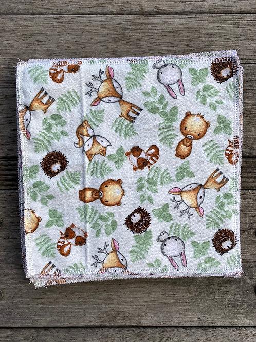 Unisex Woodland Animals Reusable Cotton Wipes