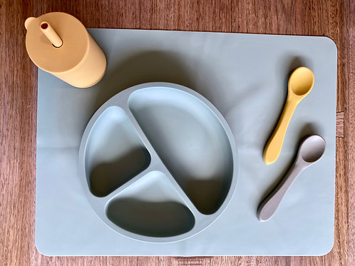 Soft Sage Tableware Silicon Plate and Table Placemat