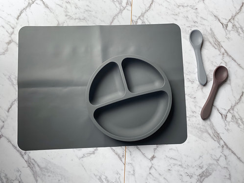 Dark Grey Tableware Silicon Plate and Table Placemat