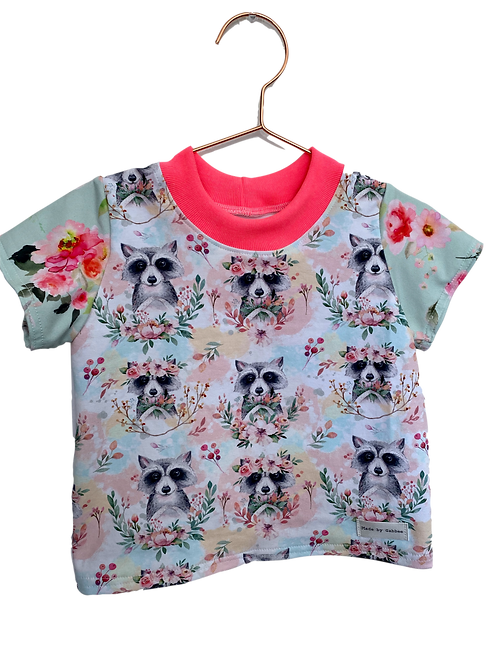 Cotton Digital Print with Bright Sleeves GirlsT-Shirt