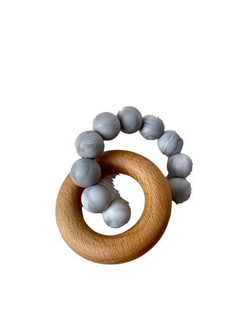 Wooden Ring Marbled Grey Silicone Teether
