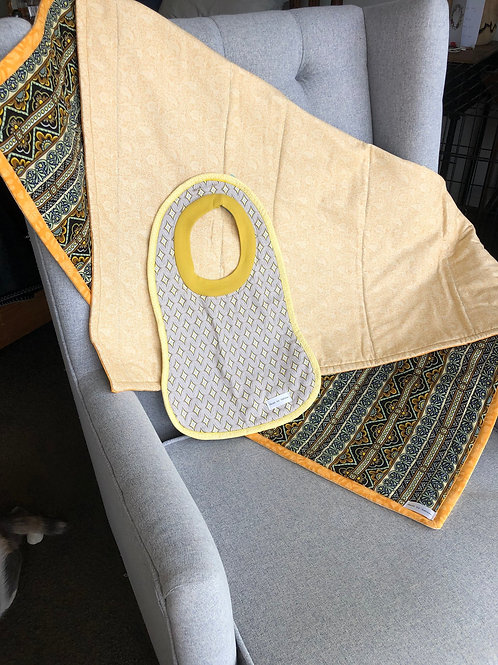 Dark Paisley Unisex Baby Quilt with Matching Bib
