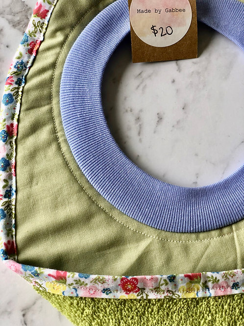 Cotton Pull Over Green Floral Bib