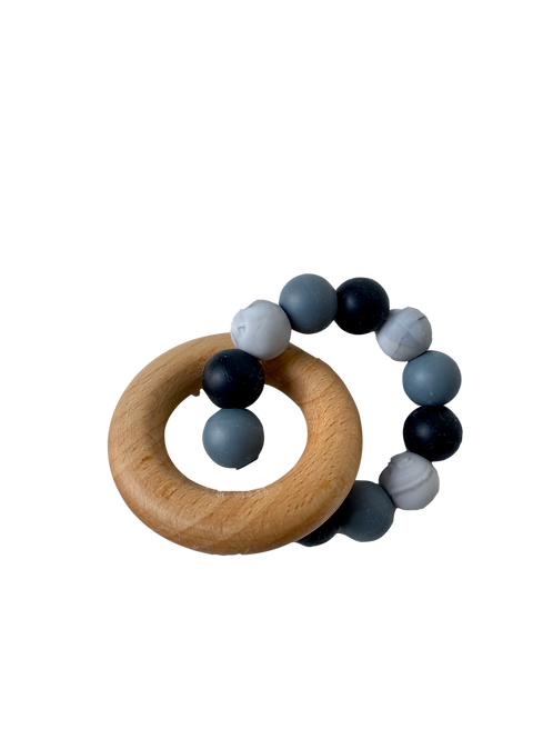 Wooden Ring Dark Grey Silicone Teether