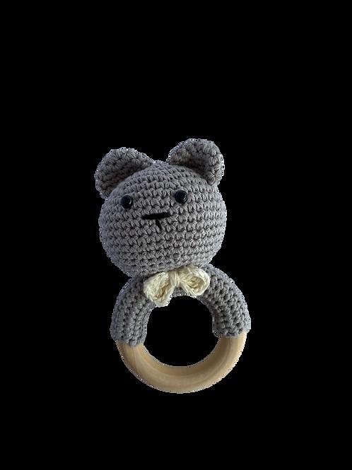 Soft Grey Crocheted Bunny Rattle Teethe