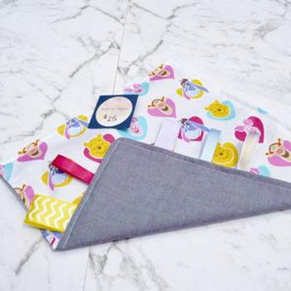 Handmade Crinkle Paper Taggie Pink Pooh Bear
