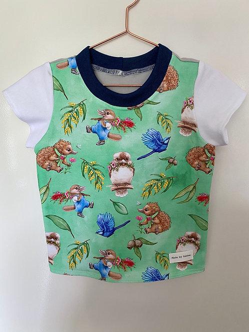 Green Woodland Animals Cotton Lycra T-Shirt