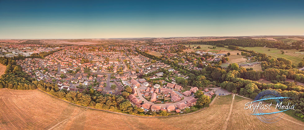 Blandford Aerial Panoramic Sunset from Milldown Print