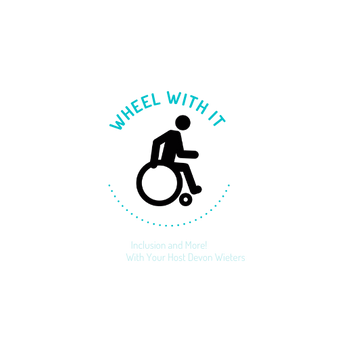 A clip art graphic of a man sitting in a wheelchair with the text Wheel With It written above him.