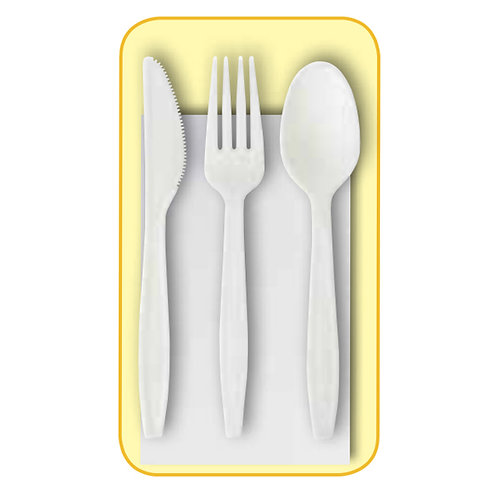 50 Tris Forchetta+Coltello+Cucchiaio+Tovagliolo