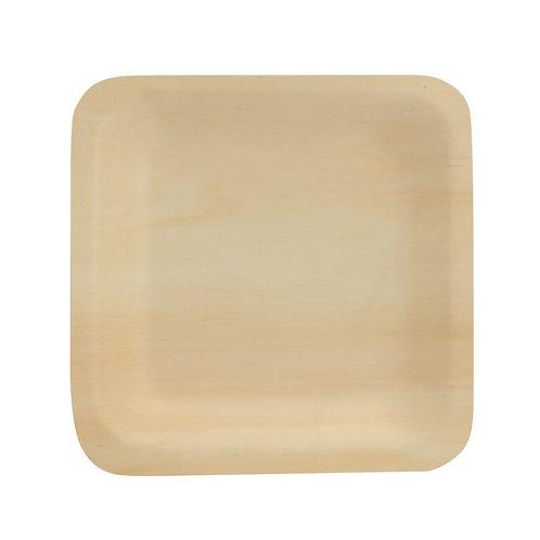 50Piatti quadrati in legno di pioppo14x14x2,5 cm