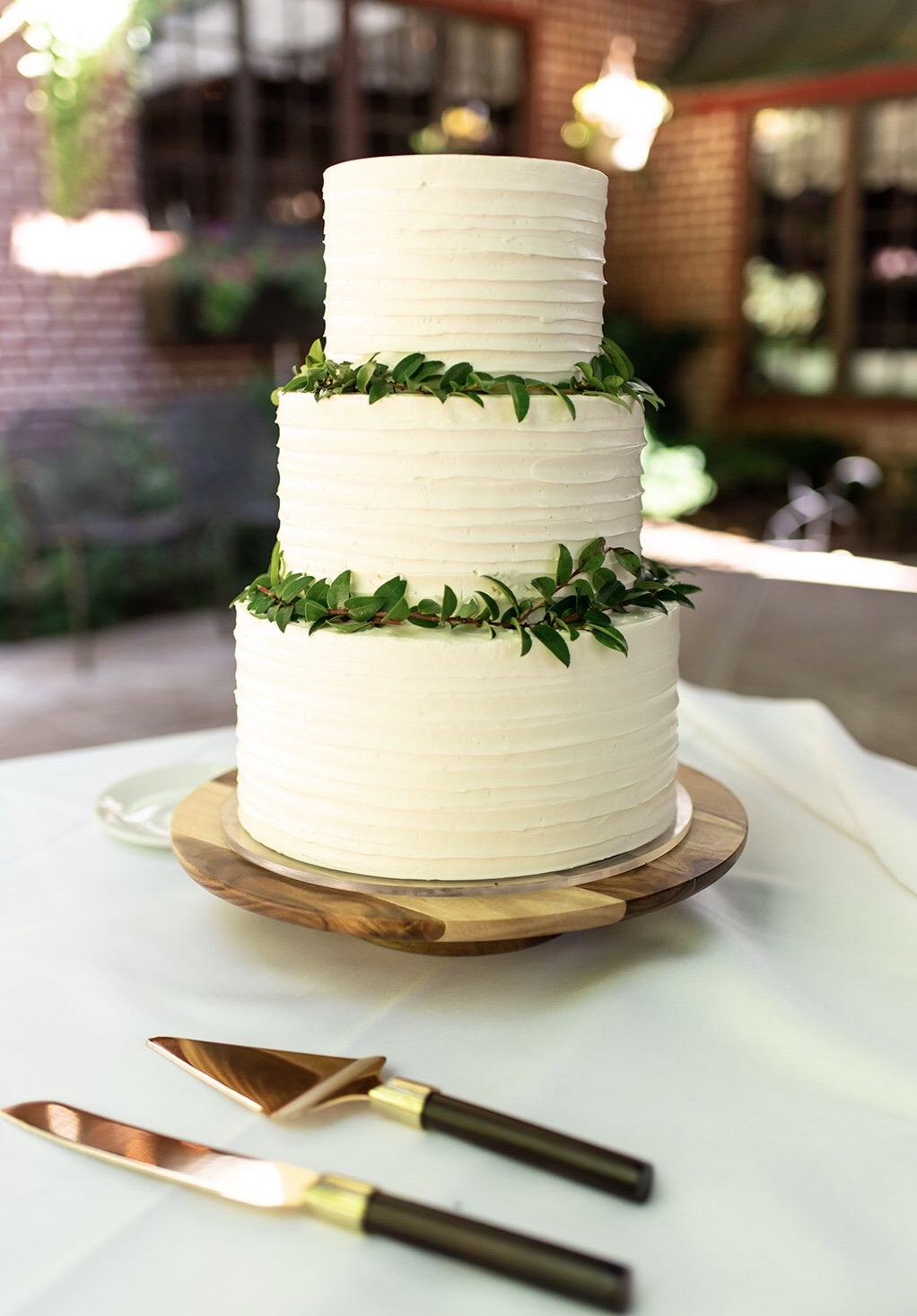 Striped Buttercream Wedding Cake
