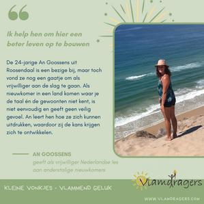 An leert nieuwkomers Nederlands.
