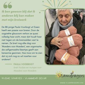 Paula breit voor 'Moeders voor Moeders'.