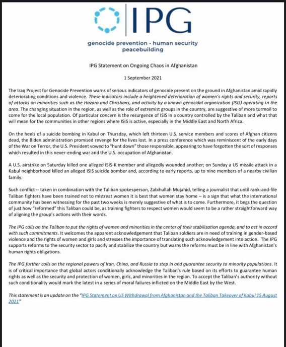 IPG Releases Statement on Ongoing Chaos in Afghanistan