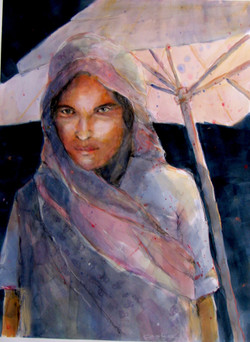 """Woman in Sari  24""""w x 30""""h"""