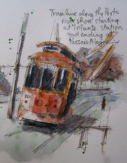 Porto tram along the river