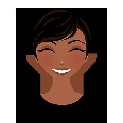 Graphic - illustration headshot of black female smiling