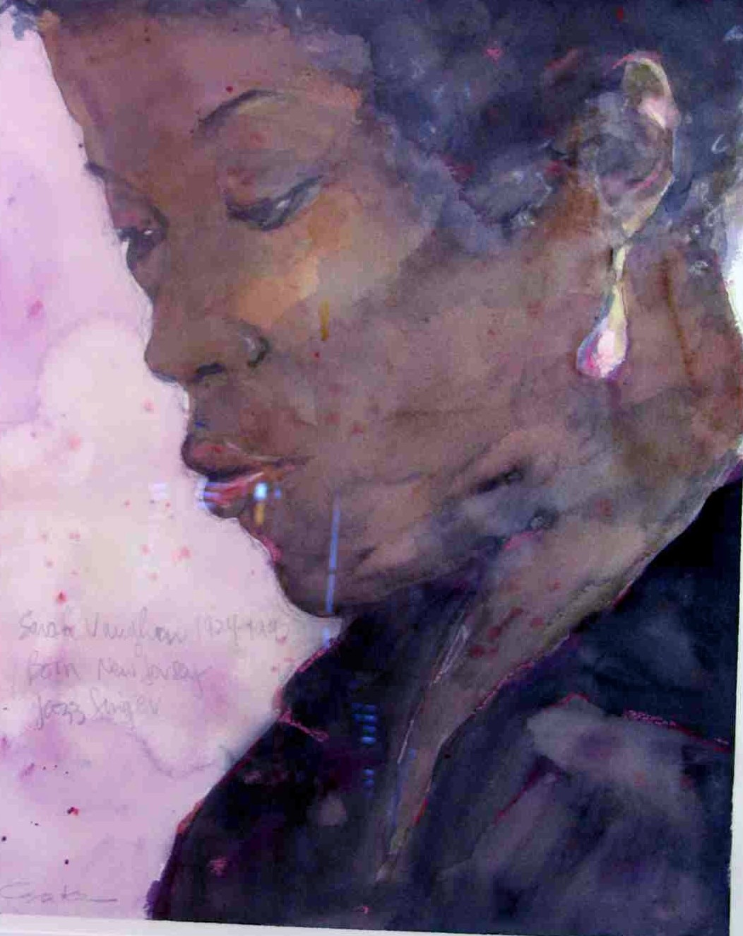 "Sarah Vaughan  13"" w x 20""h  SOLD"