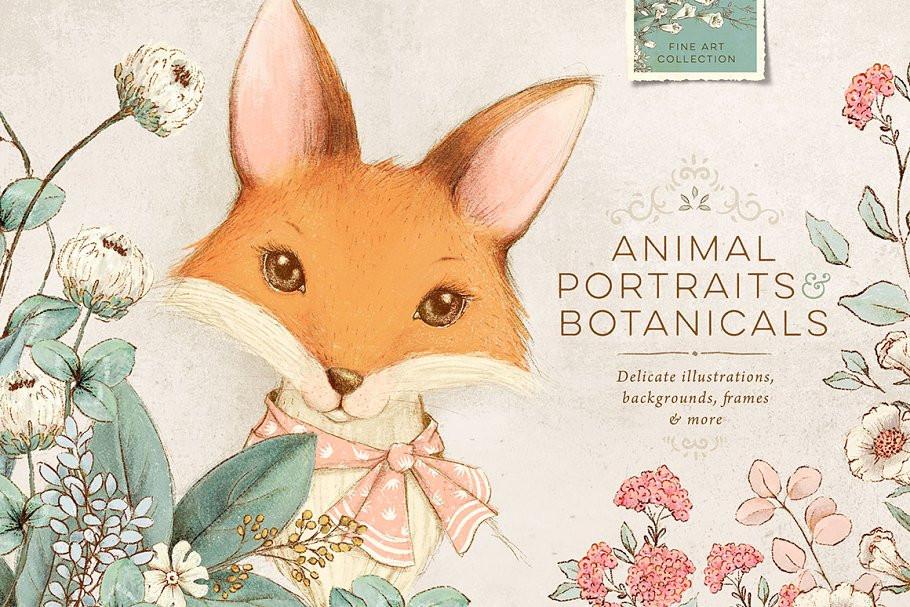 Graphic- illustration of fox peeking above flowers