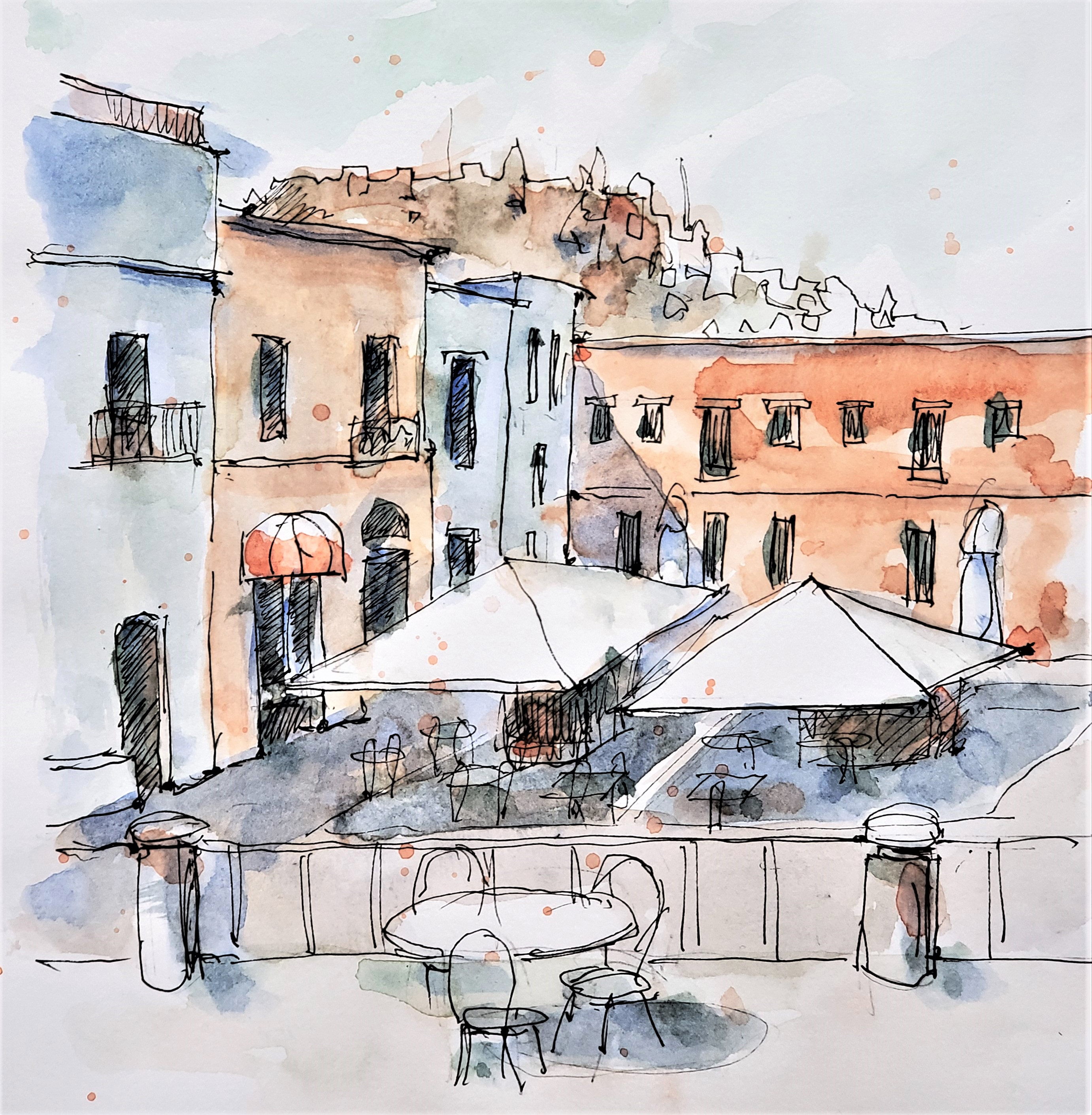 Tuscany village square